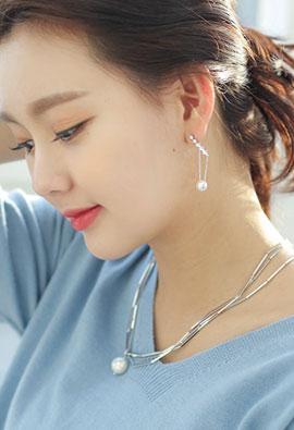 Cubic jururuk pearl drop earring <br>