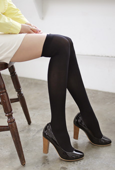 It looks beautiful legs stockings over tights <br>