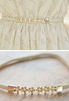 Pearl Flower thin Banding Belt <br>