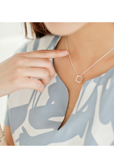 Two small square Silver Necklace <br>