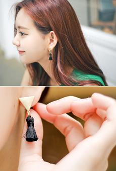 Triangular shape tassel earring <br>