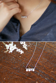 Pearl Cubic Mix Date Necklace <br>