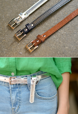 Silver Square Buckle Belt Thin <br>