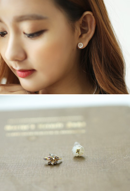 Leaves, daisies Eonbal earring (Silver Post)