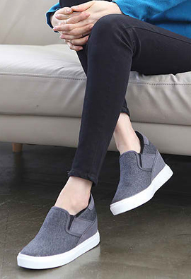T2R-RDM * Lawrence * Height increase7cm Singular quality and design! Slip-on Wedge 2Color
