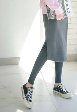 Comfort mulssin ~ String Slit Skirt Leggings <br>