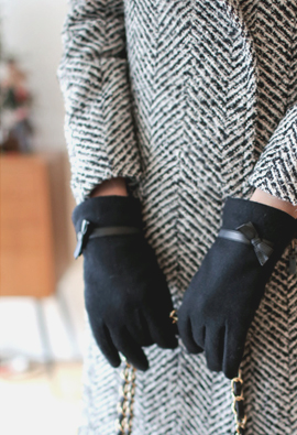Ribbon Leather Line Fur Lining Wool Gloves <br>