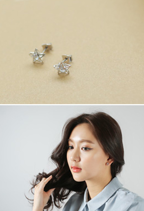Three-dimensional transparent Cubic Star earring <br>