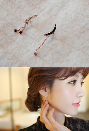 Crescent Dual Earring (Silver Post) <br>