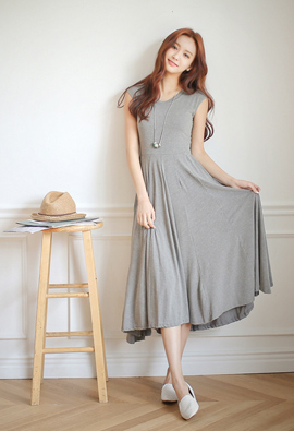 Flare Jersey Long One-piece dress <br>