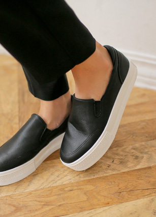 "Simple Design Slip-on Shoes Sneakers <font color=""#ed1558""><b>[Heel: 3.5cm]</b> <br></font>"