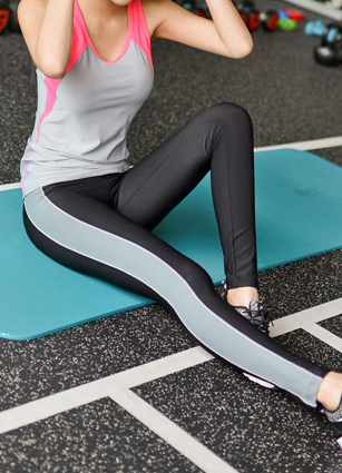 Slim Effect Side Appearance 9Part Leggings <br>