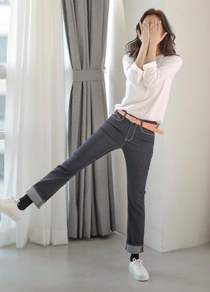 Pink Label High Quality Indigo Cloth Crop Denim <br> <FONT color=#980000>◆ Quantity left: Dark blue / S 2 sheets</font> <br>