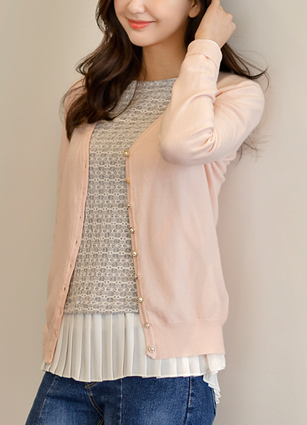 Real is pretty! Jewel Button Soft VNeck Cardigan <br> <b><FONT color=#980000>[30% discount]</font></b> <br>
