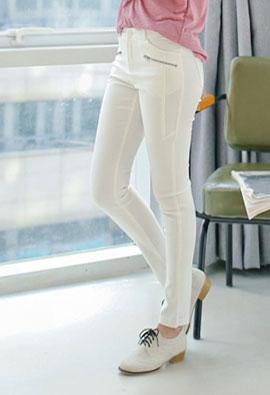 Zipper Zipper Point Skinny If Pants <br> <FONT color=#980000>◆ 26% off! Left Quantity: Light Beige / S 1 piece</font> <br>