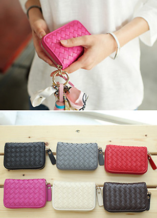 Luxury Sensitive Grid Pattern Mini Wallet <br>