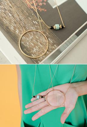 (2 pieces) Ethnic Gemstone Round Round Long Necklace <br>