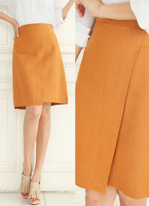 Glad Diagonal Wrap Style Linen Skirt <br> <B>(S ~ M)</b> <br>