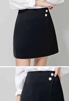 Pearl Button Simple Basic Skirt Pants <br> <FONT color=#980000>◆ Quantity left: Orange / S 2 sheets</font> <br>