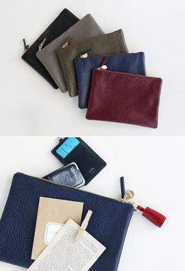 Leather Flat Clutch <br>