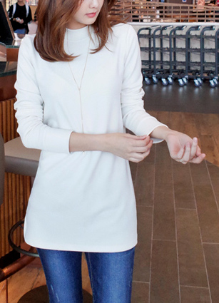 Basic side-twitching Long T-shirt <br>
