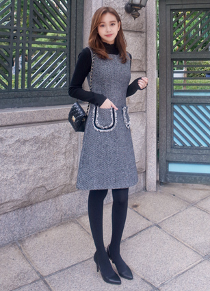 <FONT color=#980000>Winter Season OFF ◆ 25% discount</font> <br> High Quality Pocket Taping Tweed One-piece dress <br> <b>(Items shipped same day)</b>