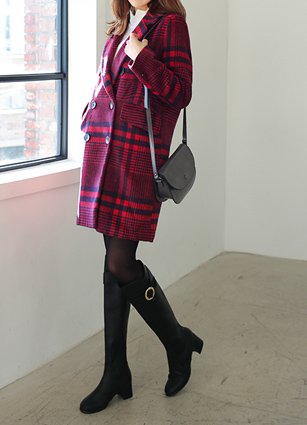 <FONT color=#980000>Season special price 50% discount</font> <br> Classic Check Double-button Coat <br> <b>(Same day shipping)</b>