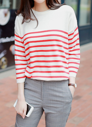 Feels Stripe 7Part Knit <br>