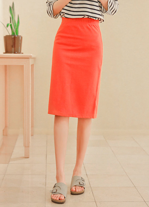 Swing Melody Banding HLine Cotton Skirt <br>