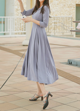 SLine Slim incision wrinkle Long One-piece dress <B>(FREE, L)</b> <br> (Broadcast support) (same day dispatch)