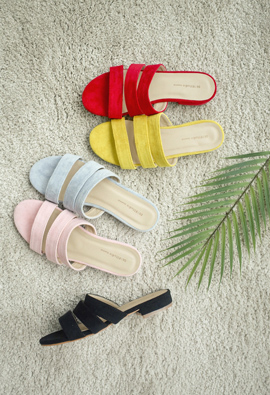 Vivid color 3Line sandals <br> <FONT color=#980000>◆ Quantity left: Pink / 235 1Piece, Light blur / 235 1Piece</font> <br>