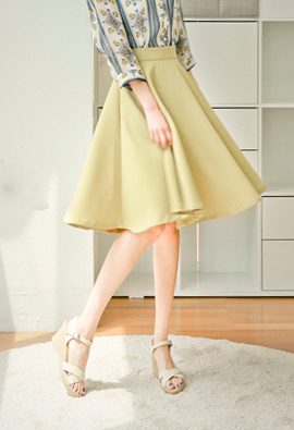 Cozy Flower Zipper Flare Skirt <br>