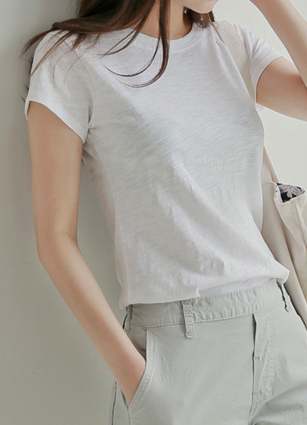Slim Natural Cotton T-shirt with trim <br> <B>(S ~ M) / Sponsorship product</b>