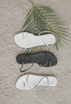 """Slim mesh twist Flip flops Sandals <br> <font color=""""#ed1558""""><b>[height heel: 1cm]</b> <br></font>"""