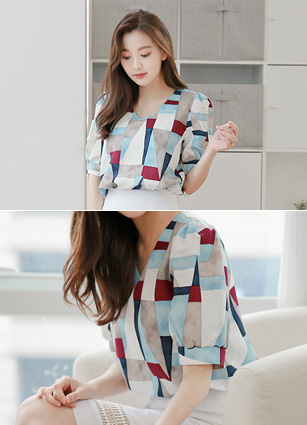 <FONT color=#980000><b>From the same product ◆ lowest price!</b></font> <br> Watercolor Block Puff Linen Blouse <br>