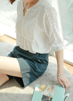 Feminine Shoulder Lace Long Blouse <br>
