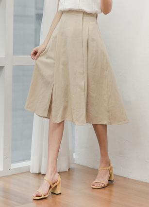 Simple Leath Pinch Linen Long Skirt <br>
