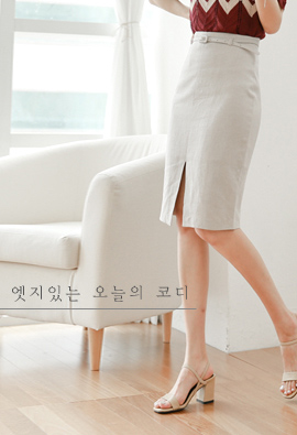 Edge point Korea government's tax policy. Linen Skirt (Beltset) <br>