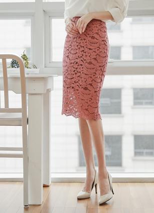 high waist Lace Skirt <B>(S, M)</b>