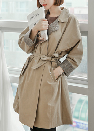GlanCheck Color Line Trench Coat <br>
