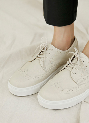 "Loafers Detail Eyelet Sneakers <font color=""#ed1558""><b>[Heel: 3cm]</b> <br></font>"