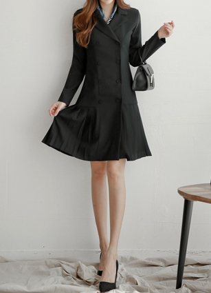 Tailored Double Pleats One-piece dress <B>(S, M, L)</b>
