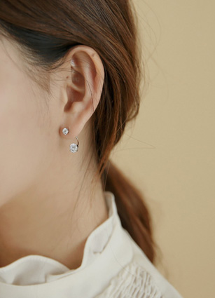 Crystal Cubic Hoop Earring (Silver Post) <br>
