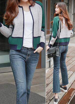 Celine Color Line Knit Zip Cardigan <br>