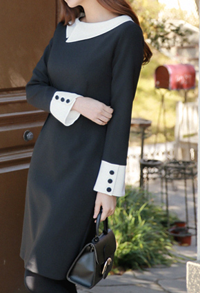 Eonbal flat color scheme Slim Fit One-piece dress <br>
