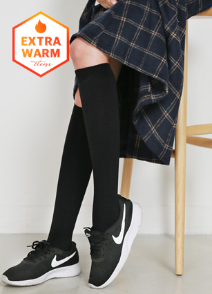 Slim Brushed lining knee length knee socks <br>