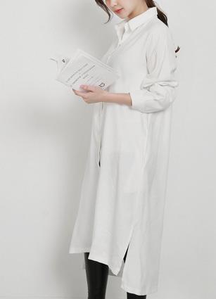 Blood Silky Long Shirt One-piece dress <br>