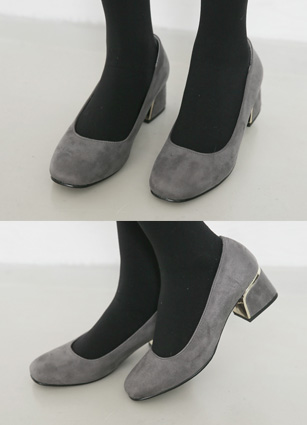 "Metal Point Suede Middle Heel <font color=""#ed1558""><b>[Heel: 5cm]</b> <br></font>"