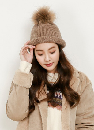 Boulder Raccoon Fur Drop Beanie <br>