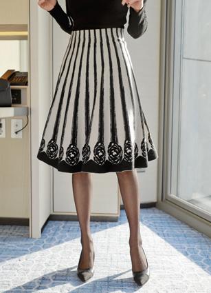 High-waist Flare Knit Skirt <br>